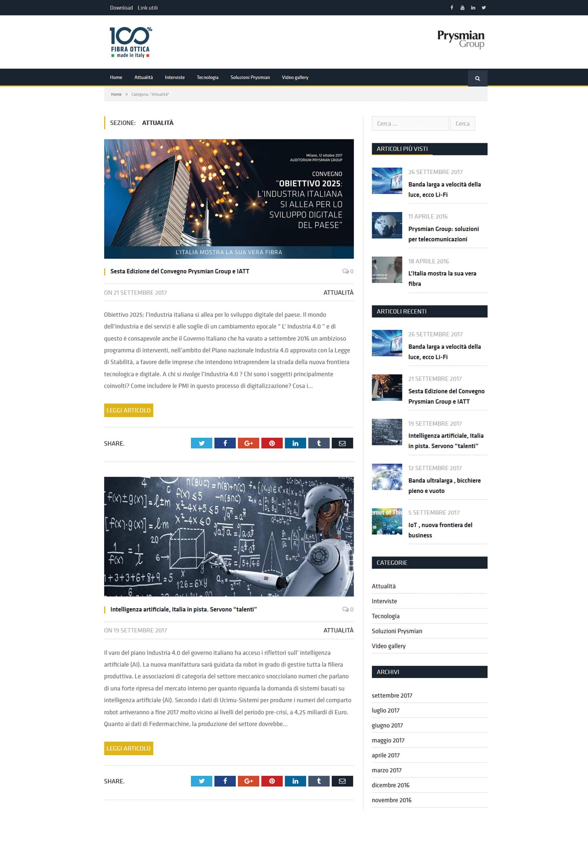 "Prysmian Group, Web site ""Fibra Made in Italy"""